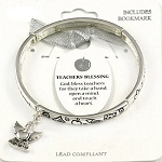 Teacher's 2nd Blessing Bracelet Inspirational Message Angel w/ Apple Charm Silver