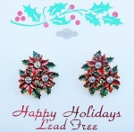 Three Poinsettia Flowers Christmas Post Earrings, Austrian Crystals