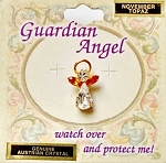 Topaz-November Birthstone Guardian Angel Pin, Genuine Austrian Crystals
