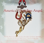 USA America's Guardian Angel Pin, Gold Tone Metal