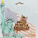 USA Flag Proud To Be An American Patriotic Pin, Gold Tone Metal