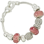 Vacation-Ready Pandora Inspired Lovely Pink Bead Bracelet Murano Glass