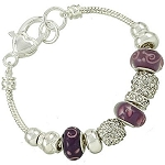 Vacation-Ready Pandora Inspired Purple Amethyst Bead Bracelet Murano Glass