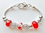 Vacation-Ready Pandora Inspired Ruby Red Bead Bracelet Murano Glass