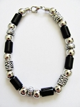 Vintage Apache Tribe Beaded Men's Beach Bracelet, Chrome Black Surfer Jewelry