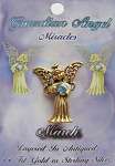 Vintage Gold Aquamarine-March Birthstone Guardian Angel Pin, Genuine Austrian Crystal