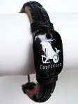 Zodiac Capricorn Beach Surfer Style Black Leather Bracelet Men`s Unisex Jewelry Adjustable