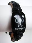 Zodiac Scorpio Beach Surfer Style Black Leather Bracelet Men`s Unisex Jewelry Adjustable