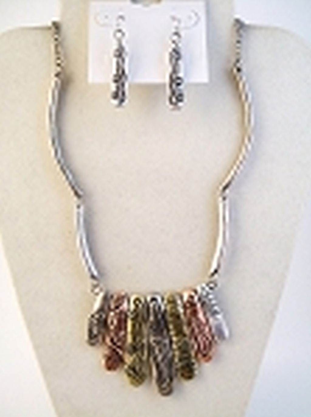 Tri-tone Pin Charm Vintage Necklace Earrings Jewelry Set