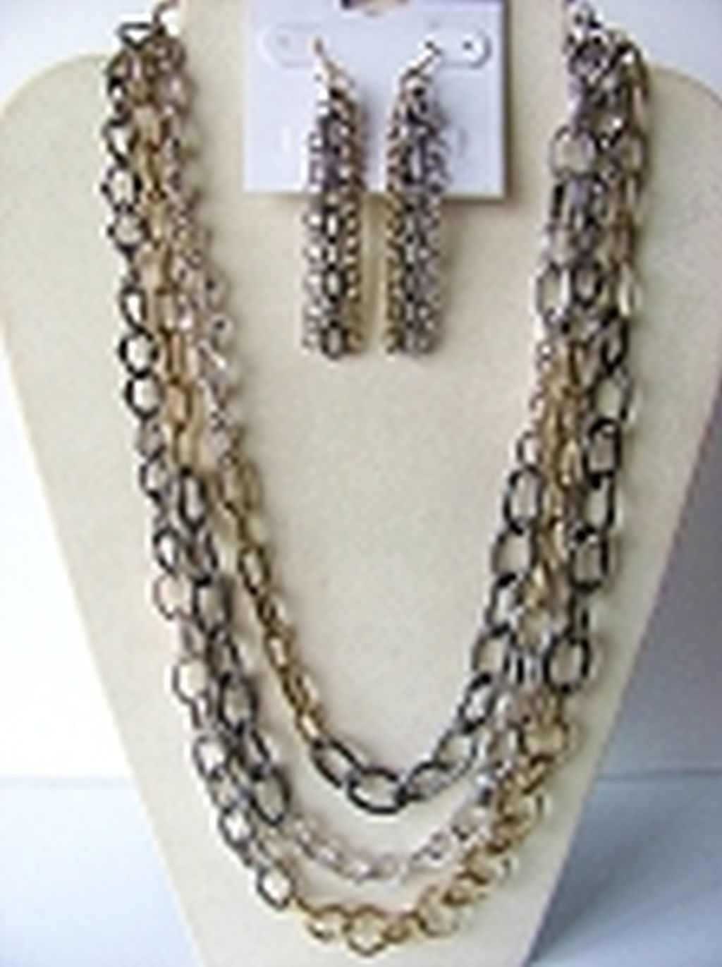 Tri-tone Three Large Layers Chain Necklace Earrings Jewelry Set