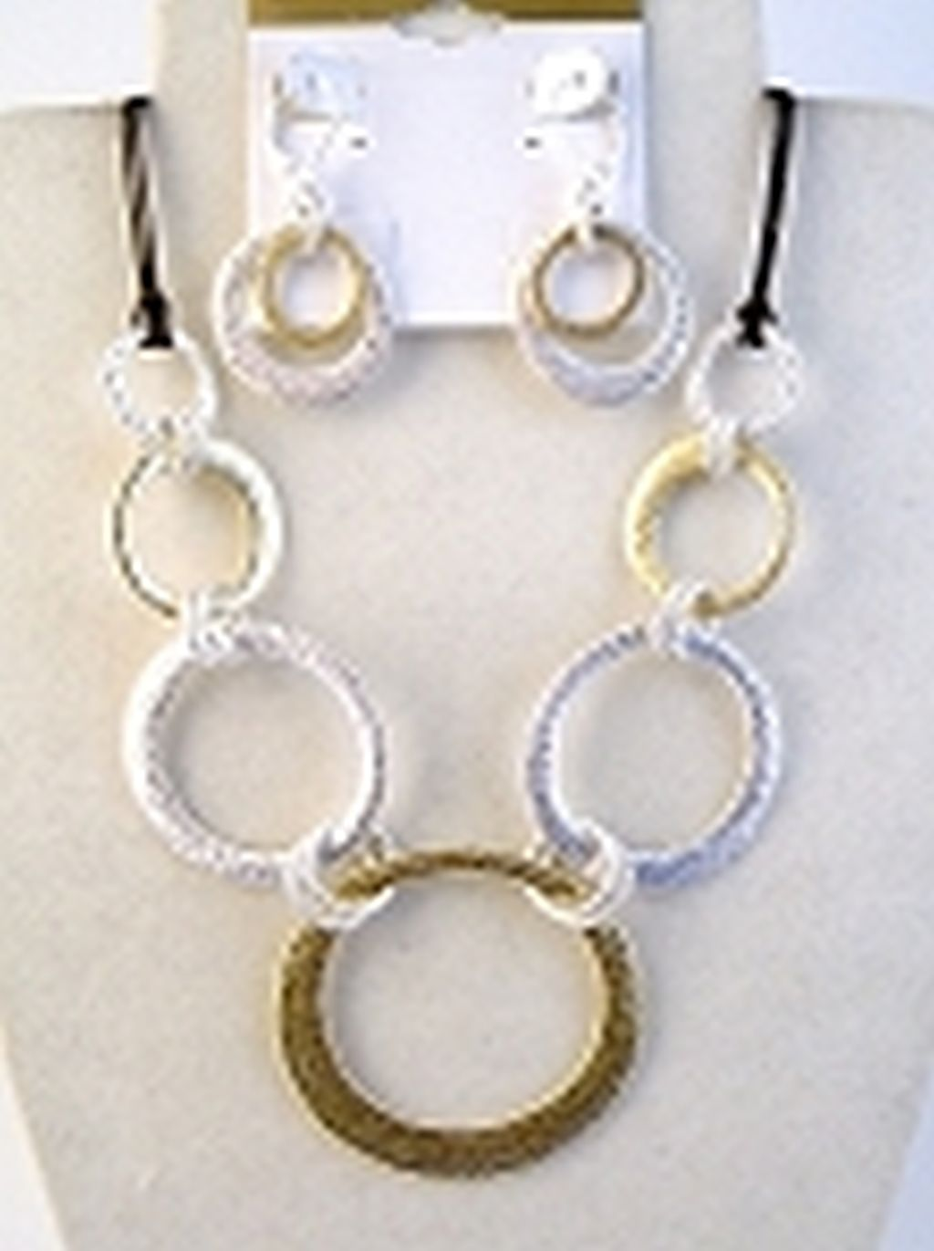 Two-tone Hammered Circles Necklace Bracelet Earrings Jewelry Set