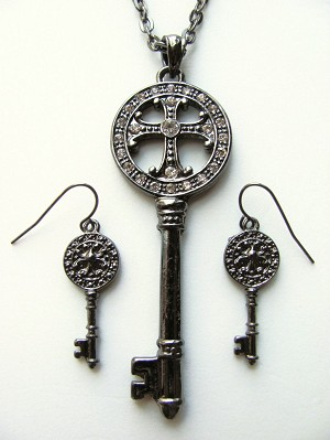 "3"" Large Cross Key Pendant Necklace Earrings Set Smokey Tone Designer's Touch"