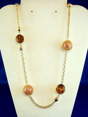 "30"" Chain Necklace, Gold Filigree Net Ball Beads, Anti-allergic Jewelry"