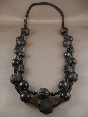 "32"" Adjustable Black Bulky Two Layers Necklace, Large Wooden Ball & Cube Beads, European Fashion Jewelry"