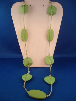 "38"" Bulky Green Necklace, Heart, Oval & Cube Beads, Cotton Cord, European Fashion Jewelry"