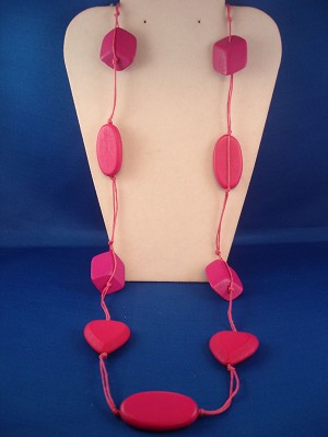 "38"" Bulky Pink Necklace, Heart, Oval & Cube Beads, Cotton Cord, European Fashion Jewelry"