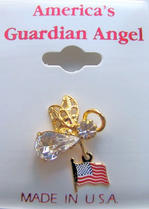 America's Guardian Angel Pin w/ American Flag, Clear Diamond Genuine Crystals