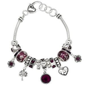 Amethyst February Birthstone Charm Bracelet Murano Beads