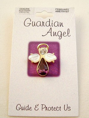 Amethyst-February Birthstone Guardian Angel Pin, Genuine Austrian Crystals, Gold Finish Metal