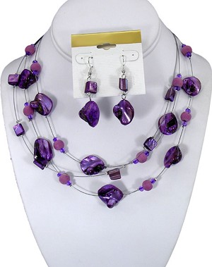 Amythest Color Set of Necklace & Earrings, Three Strings of Mother of Pearl, Anti-allergic Jewelry