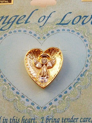 Angel of Love Heart Pin, Gold & Clear Diamond Genuine Austrian Crystal
