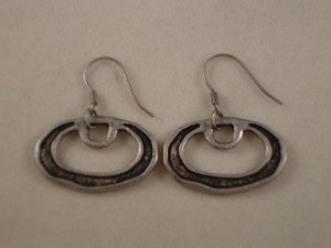 Antique Style Dangling Earrings, Silver/Gray Tone Oval, Anti-allergic Jewelry