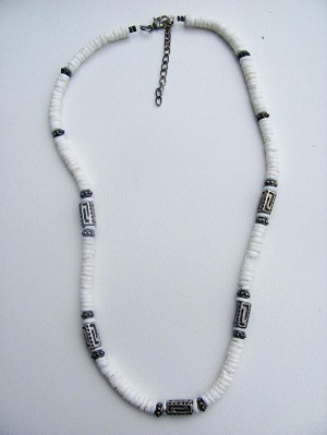 Arctic White Shells Unlimited Men's Surfer Style Beaded Necklace, Beach Choker