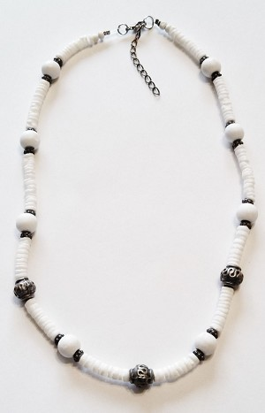 Arctic White Shells Unlimited Men's Necklace, Beach Surfer Style Vintage Beads Choker