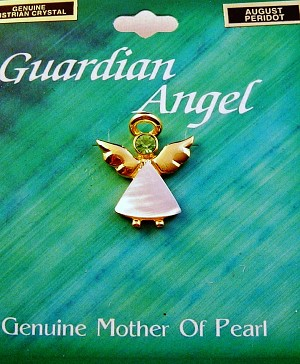 Peridot-August Birthstone Guardian Angel Pin, Genuine Mother-of-Pearl & Austrian Crystal