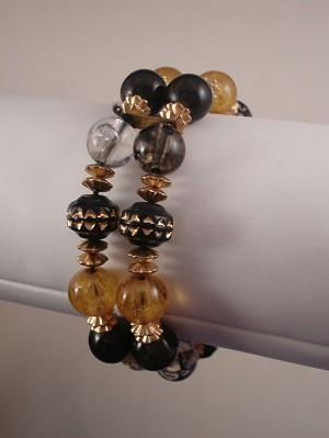 Ball Beads Two Layers Stretching Bracelet with Gold Tone Ornament, Anti-allergic Jewelry