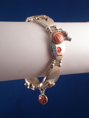 Basketball Lover Stretching Charm Bracelet, Sterling Silver Plated, Anti-allergic Jewelry