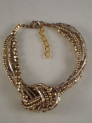 Beige Beads Contemporary Knot Bracelet