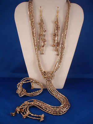 Beige Beads & Genuine Stones Contemporary Jewelry Set of Necklace, Bracelet & Earrings