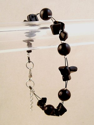 Black Bracelet, Two Layers of Genuine Shells & Artificial Pearls, Fashion European Jewelry