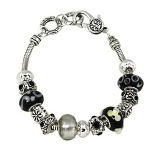 Black Diamond Murano Glass Bead Sliding Bracelet Pandora Inspired Vintage Style