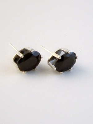 Black Diamond Oval Cut Silver Stud Earrings Genuine CZ Cubic Zirconia