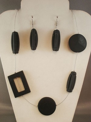 Black Graphite Bulky Genuine Stones Set of Necklace & Earrings, Circle, Rectangle & 3D Triangle Beads, European Fashion Jewelry