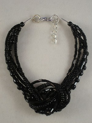 Black Onyx Beads Contemporary Knot Bracelet