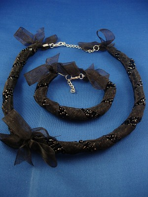 Black Ribbon Set of Necklace & Bracelet, Eight Twisted Strings of Beads, European Fashion Jewelry