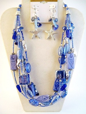 Blue Fish Sea Star Starfish Glass Beads Multi-Layer Necklace Earrings Jewelry Set