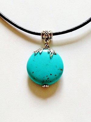 Blue Turquoise Genuine Stone Circle Pendant Beach Necklace