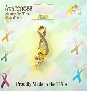 Brain Cancer Awareness Grey Ribbon Angel Charm Pin, Clear Diamond Genuine Austrian Crystals