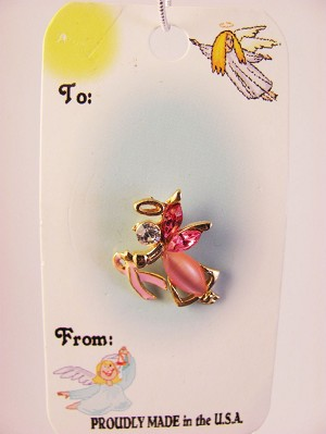 Breast Cancer Guardian Angel Pin Pink Ribbon, Genuine Austrian Crystal