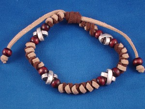 Brown Valvet Beach Surfer Style Beaded Adjustable Bracelet, Wooden & Metal Beads