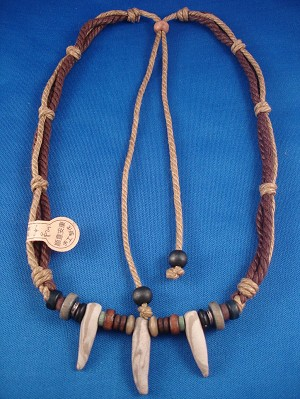 Brown Beach/Surfer Style Beaded Adjustable Necklace, Wooden & Metal Beads