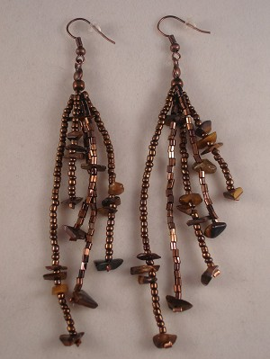 "Brown Beads & Genuine Stones 4"" Extra Long Contemporary Earrings"
