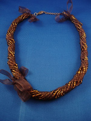 Brown Ribbon Necklace, Eight Twisted Strings of Beads, European Fashion Jewelry