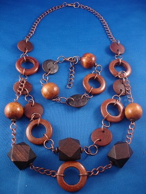 Brown Set of Necklace & Bracelet, Large Wooden  Beads, Copper Chain, European Fashion