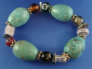 Bulky Turquoise Stones Stretching Bracelet, Evil Eye Stained Glass & Metal Beads, Anti-allergic Jewelry