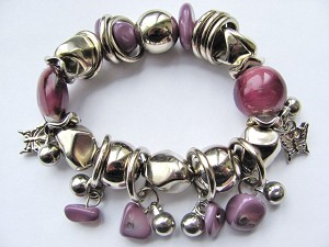 Butterfly Crazy Silver Charms Purple Stone & Glass Stretching Bracelet